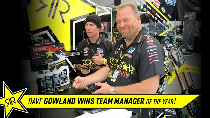 Rockstar Energy Racing's Dave Gowland wins Team Manager of the year!