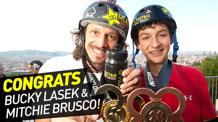 Bucky Lasek &amp; Mitchie Brusco Podium in Skateboard Vert at X Games Barcelona