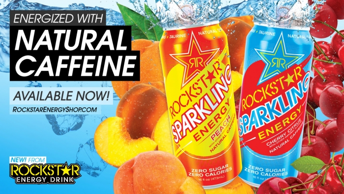 New! Rockstar Sparkling Available Now.